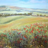 Poppies near Alfriston - East Sussex Art Gallery - Pastel Landscape Artist Juliet Murray