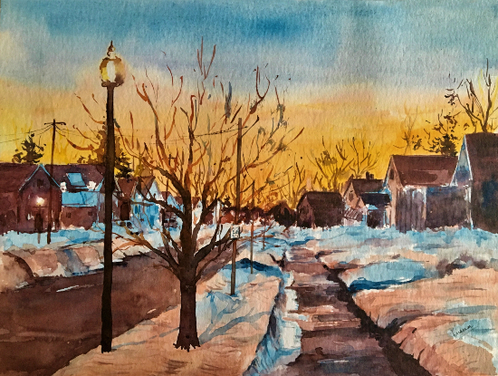 A Winter's Tale Watercolour Painting - Berkshire Artist Kusum Shabong