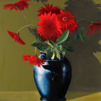 Black Vase - Red Gerberas - Reading Artist Michael Norcross