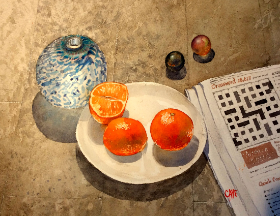 Chinese officials order vegans' salads (9,3,5,4) - Newspaper Crossword - Oranges Watercolour Painting by Reading Guild of Artists member Richard Cave