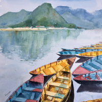 Colourful Boats Backdrop of Hills – Berkshire Art Gallery – Landscape Artist Kusum Shabong