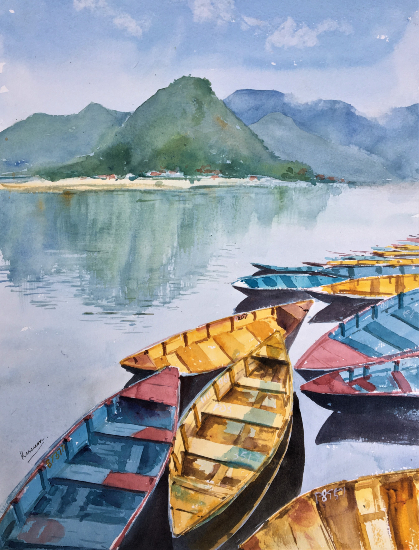 Colourful Boats Backdrop of Hills - Berkshire Art Gallery - Landscape Artist Kusum Shabong