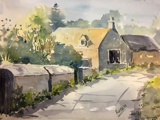 Cotswold Cottage - Village Life - Landscape Watercolour Artist Kusum Shabong