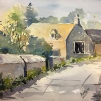Cotswold Cottage – Village Life – Landscape Watercolour Artist Kusum Shabong