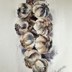 Garlic String Painting by Berkshire Watercolour Artist Kusum Shabong