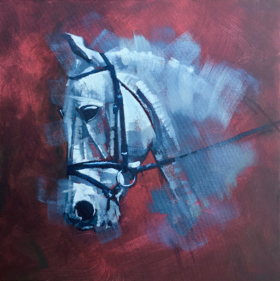 Horse Portrait Silver Ghost - West Berkshire Open Studios Artist David Cotton