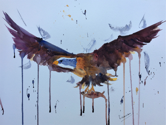 King of the Skies - Eagle in Flight - Impressionist Art by Berkshire Artist Kusum Shabong
