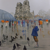 Notre Dame de Paris in the Rain - Woking Artist David Harmer