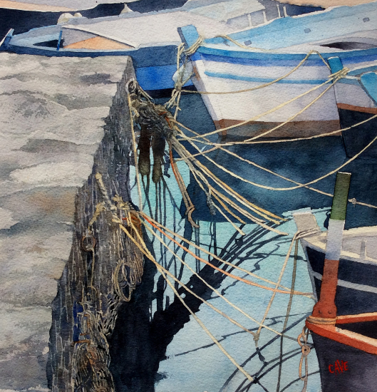 Painters Confusion-Acitrezza - Watercolour Painting by Royal Society of Marine Artists member Richard Cave