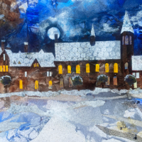 Reading School Berkshire – Framed Mixed Media Art by Berkshire Artist Therese Lawlor