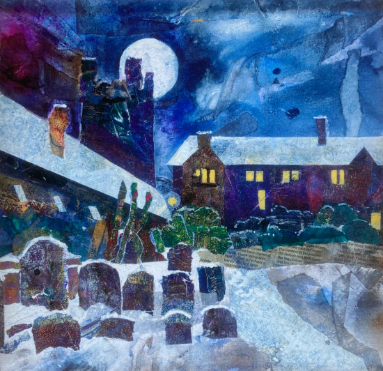 St Laurence's Churchyard Reading - Framed Mixed Media Art - Berkshire Artist Therese Lawlor