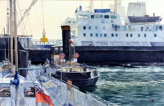 The Mermaid in Dock - Harwich - Watercolour Painting by Royal Society of Marine Artists member Richard Cave