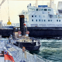 The Mermaid in Dock – Harwich – Watercolour Painting by Royal Society of Marine Artists member Richard Cave
