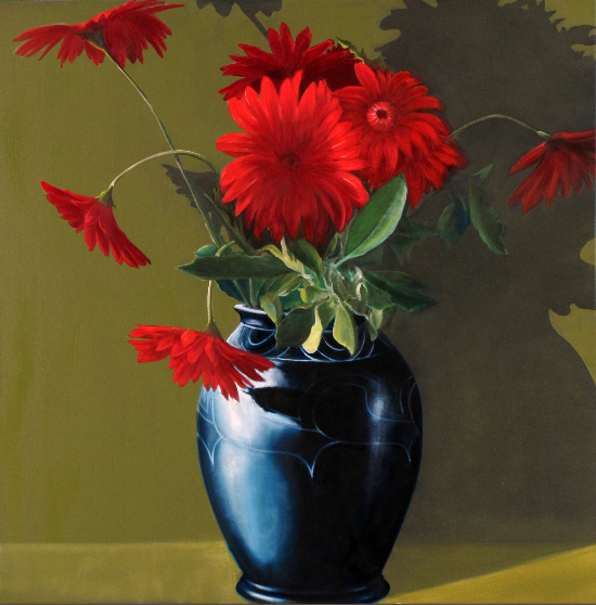Victoria's Black Vase with Red Gerberas - Reading Guild of Artists - Michael Norcross