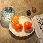 Chinese officials order vegans' salads (9,3,5,4) – Newspaper Crossword – Oranges Watercolour Painting by Reading Guild of Artists member Richard Cave
