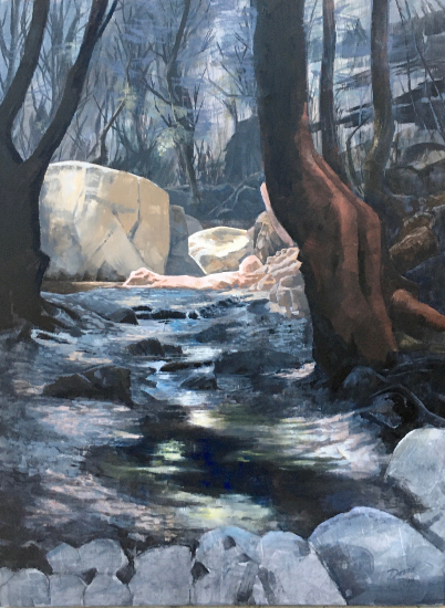 Woodland and Stream - The Butterfly Valley - Reading Guild of Artists - David Cotton -