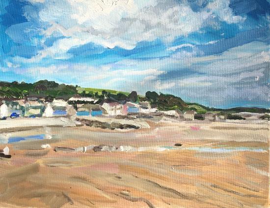 Amroth Beach Pembrokeshire - Coastal Scene - Cookham Artist Karen Davies