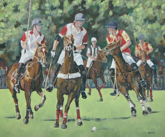 Berkshire Art Gallery - Polo Match Smiths Lawn Windsor - Oil Painting