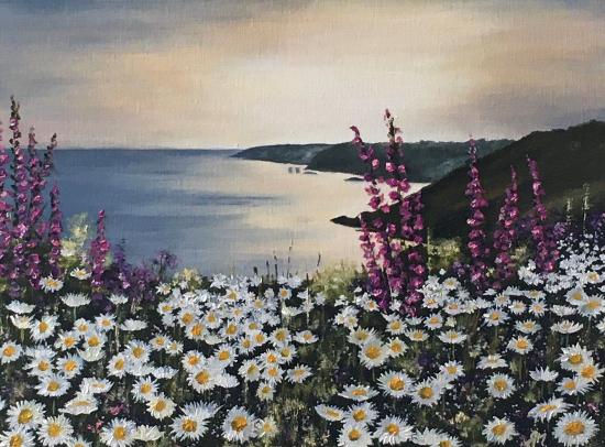 Coastal Cliff Walk Seascape - Maidenhead Artist Maria Meerstadt