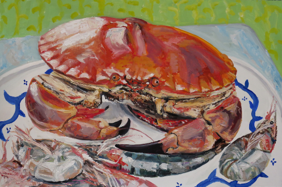 Crab and Shrimps - Oil Painting and Giclée Prints by Coastal Artist Karen Davies