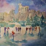 Ice Skating – Windsor Castle Berkshire Art Gallery – Christmas Cards & Prints