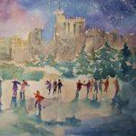 Ice Skating – Windsor Castle Berkshire Art Gallery – Christmas Cards & Prints