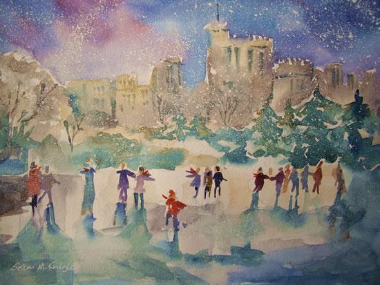 Ice Skating - Windsor Castle Berkshire Art Gallery - Christmas Cards & Prints