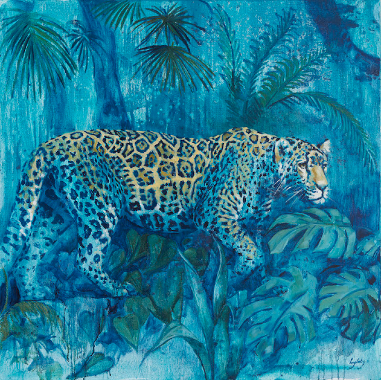 Leopard - The Night Prowler - Painting and Prints - Shurlock Row, Berkshire Artist Catherine Ingleby