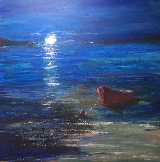 Moonlight Sonata - Calm Sea - Moored Boat - Maidenhead Berkshire Artist Wendy Mercer