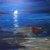 Moonlight Sonata – Calm Sea – Moored Boat – Maidenhead Berkshire Artist Wendy Mercer