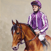 Racehorse Saxon Warrior and Jockey – Equine Art by Society of Equestrian Artists Catherine Ingleby