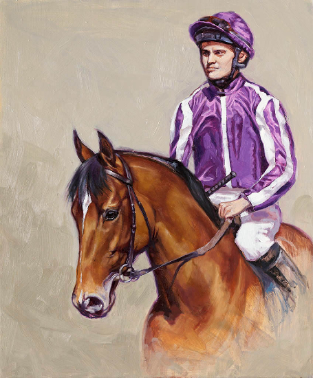 Racehorse Saxon Warrior and Jockey - Equine Art by The Society of Equestrian Artists Catherine Ingleby