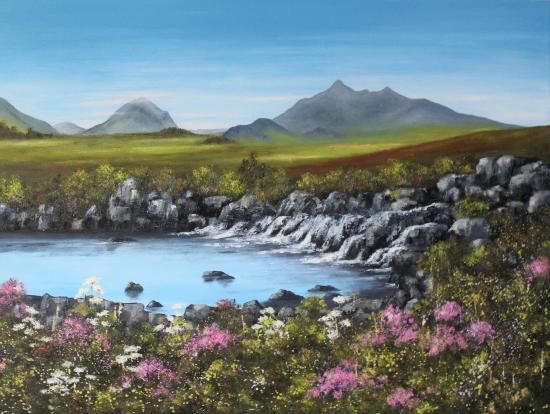 Sligachan, Isle of Skye, Scotland - Oil Painting by Cookham Arts Club Artist Maria Meerstadt