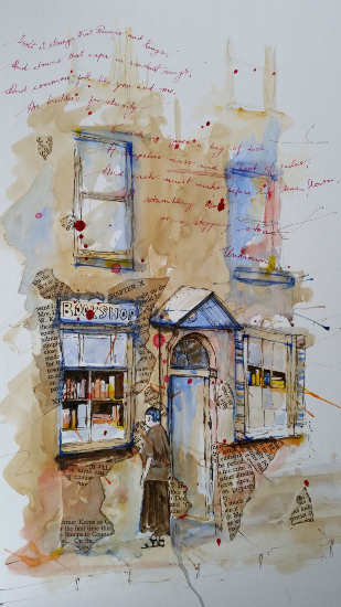 The Bookshop - Reading Guild of Artists member Mohan Banerji - Berkshire Art Gallery