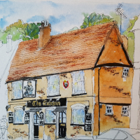 The Crispin Inn – Wokingham – Pen and Wash Sketch – Finchampstead Artist Mohan Banerji