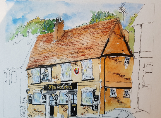 The Crispin Inn - Wokingham - Pen and Wash Sketch - Old Building