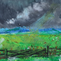 Thunderclouds – Oil Pastel Painting by Finchampstead Artist Mohan Banerji
