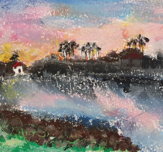 Tsunami Artwork by Finchampstead Oil Pastels Artist Mohan Banerji