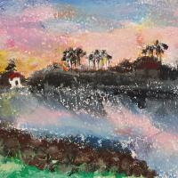 Tsunami Artwork by Finchampstead Wokingham Oil Pastels Artist Mohan Banerji