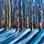 Winter Sun Forest in Snow – Landscape by Cookham Arts Club member – Wendy Mercer