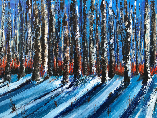 Winter Sun Forest in Snow by Cookham Arts Club member Wendy Mercer