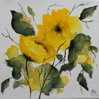 Yellow Rose Watercolour – Maidenhead Artist Maria Meerstadt