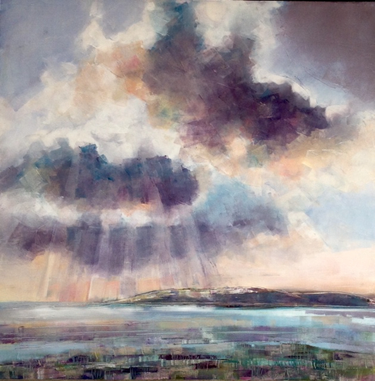 Keyhaven Marshes Hampshire - Oil Painting - Berkshire Seascape and Landscape Artist Clare Buchta