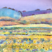 Sunflower Fields - English Summer - Berkshire Landscape Artist Clare Buchta - Oil Painting
