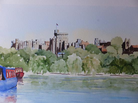 Windsor Castle Painting - Barges on River Thames - Berkshire Art Gallery