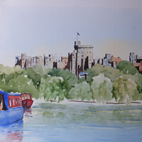 Windsor Castle Painting – Barges on River Thames – Berkshire Art Gallery