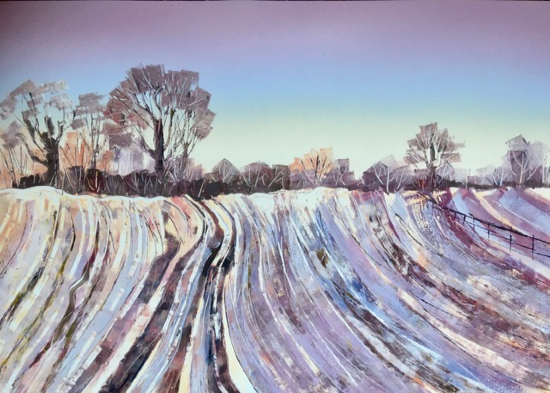 Winter Fields - Berkshire Landscape and Monotype Artist Clare Buchta