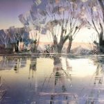 Winter Stream Oil Painting – Reading Guild of Artists member Clare Buchta