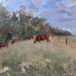 Cows Grazing in Field – Berkshire Landscape Artist and Art Tutor Shelagh Casebourne –