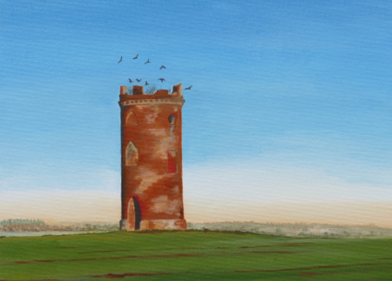 Dovecot with crows - Rural Landscape - Berkshire Artists Gallery - Kerry Webb